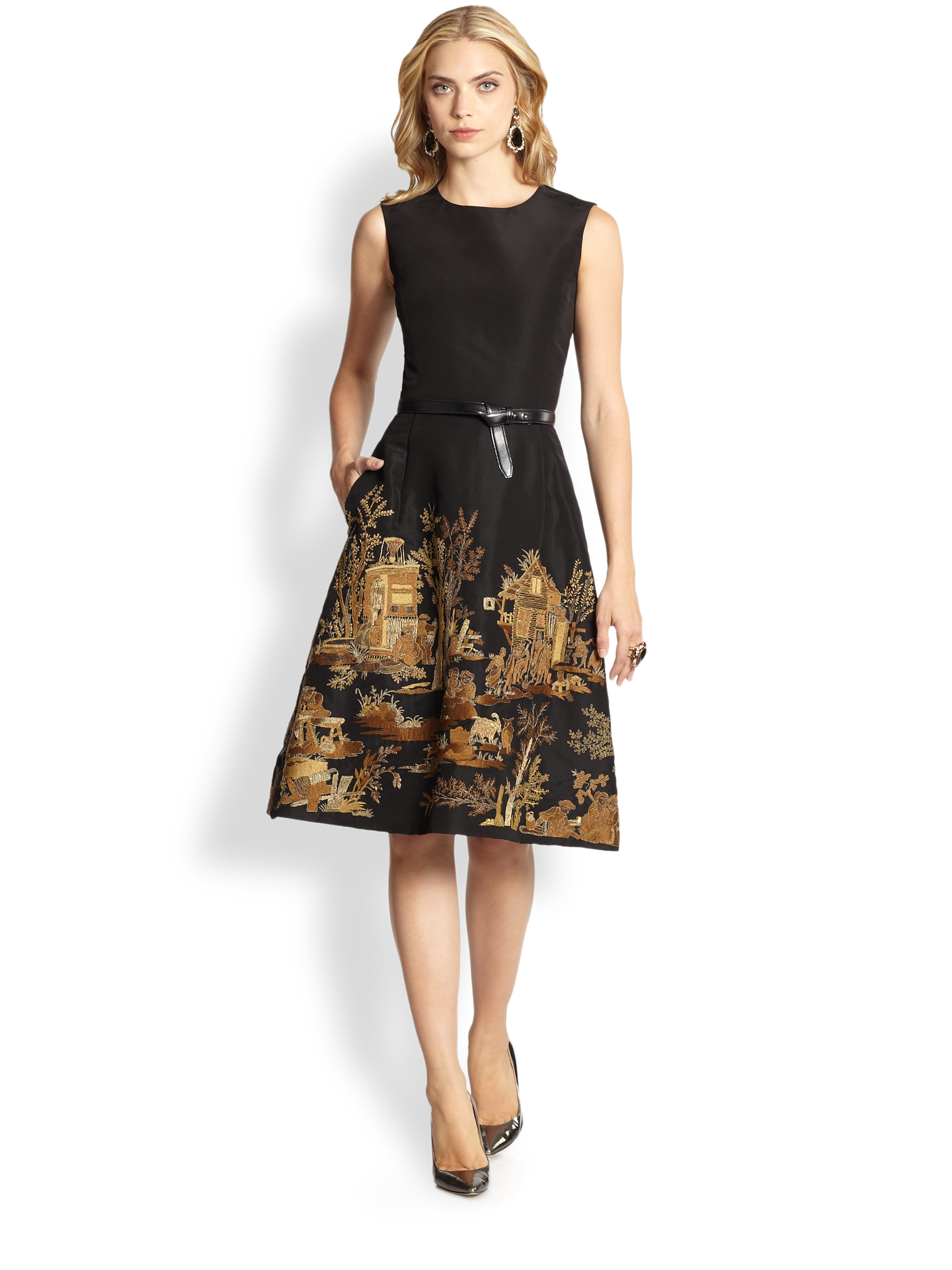 Lyst Oscar De La Renta Embroidered Cocktail Dress In Black