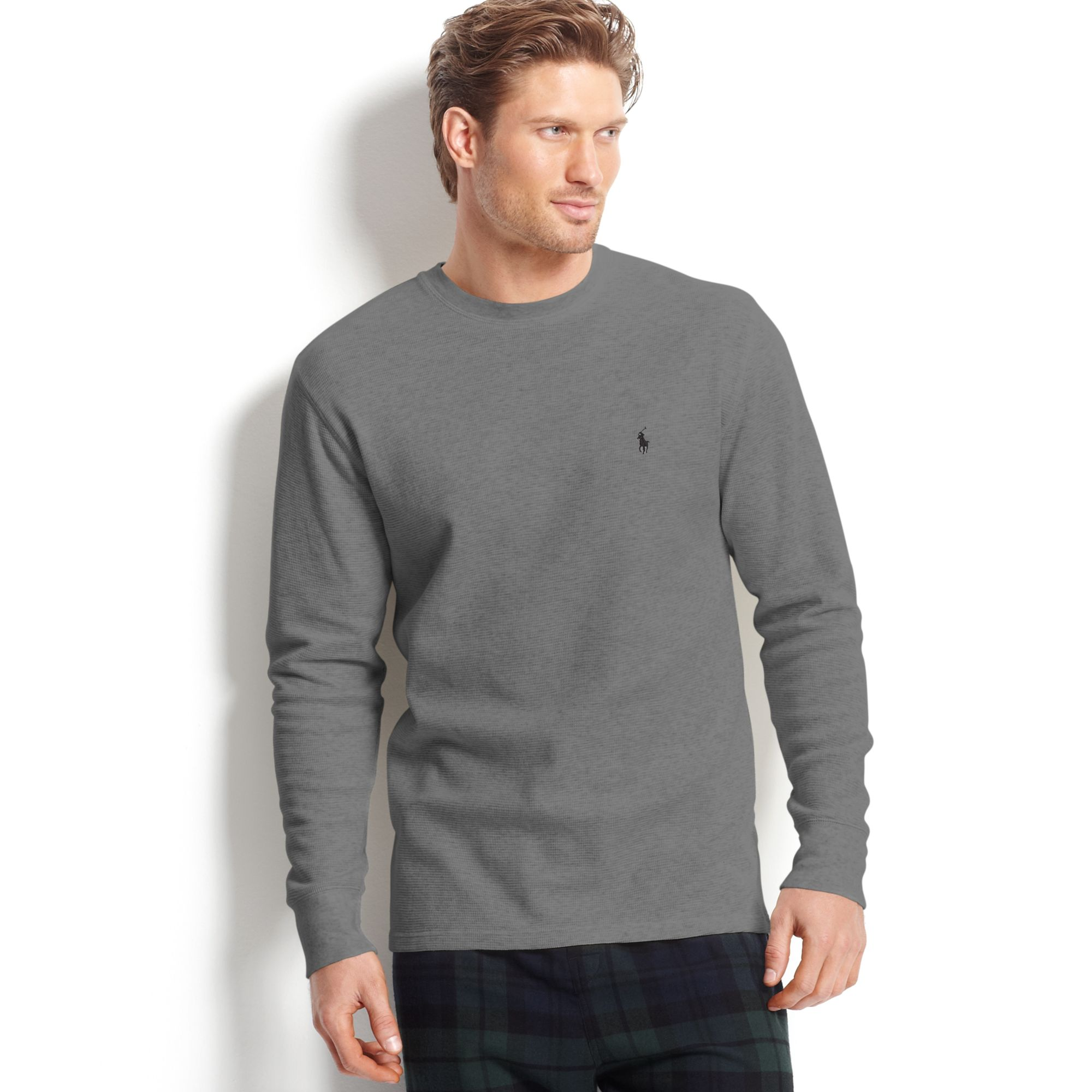 45cc26c1 Ralph Lauren Long Sleeve Crew Neck Waffle Knit Thermal Tshirt in ...
