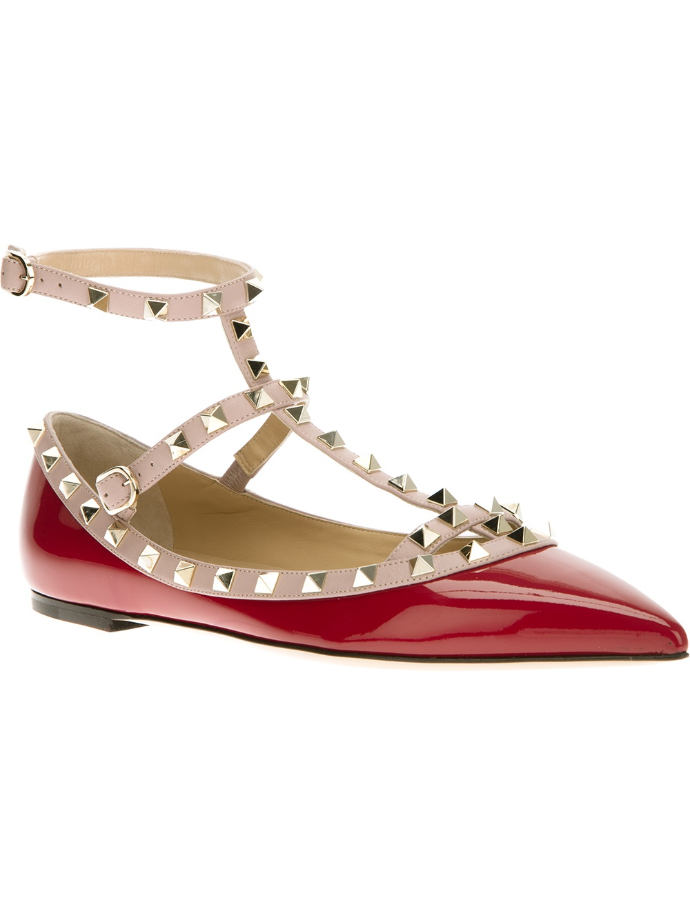 Valentino Studded Shoe in Red | Lyst