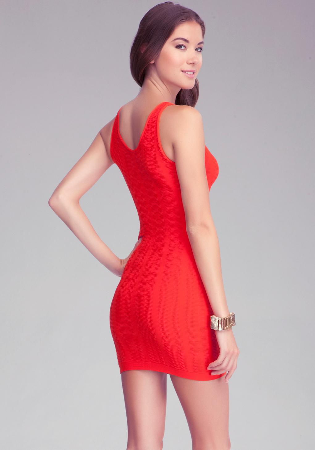 Bebe Textured Tubular Tank Dress in Red  Lyst