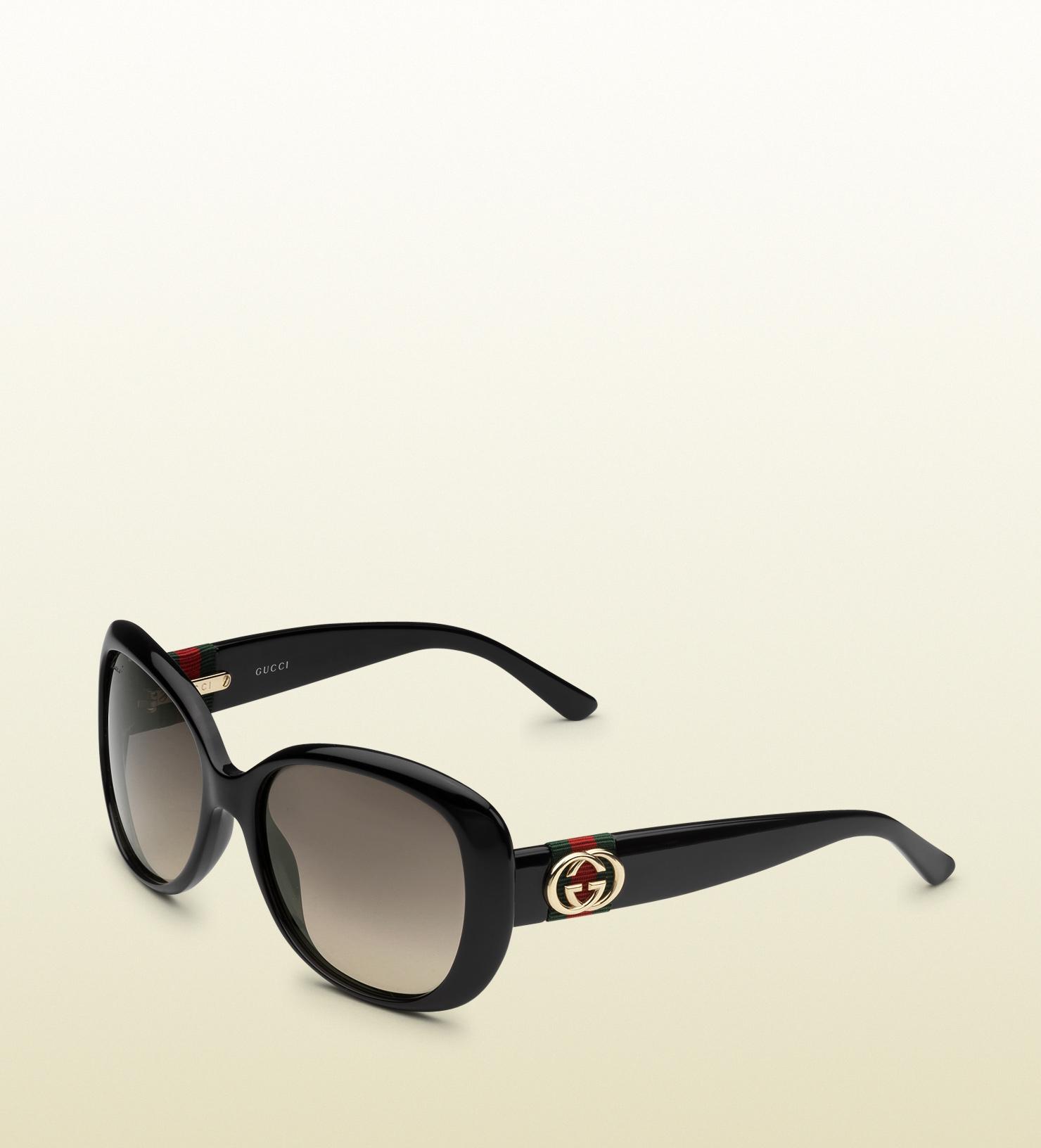 d38097db6d5ed Gucci Shiny Black Oversize Contrast Sunglasses in Black - Lyst