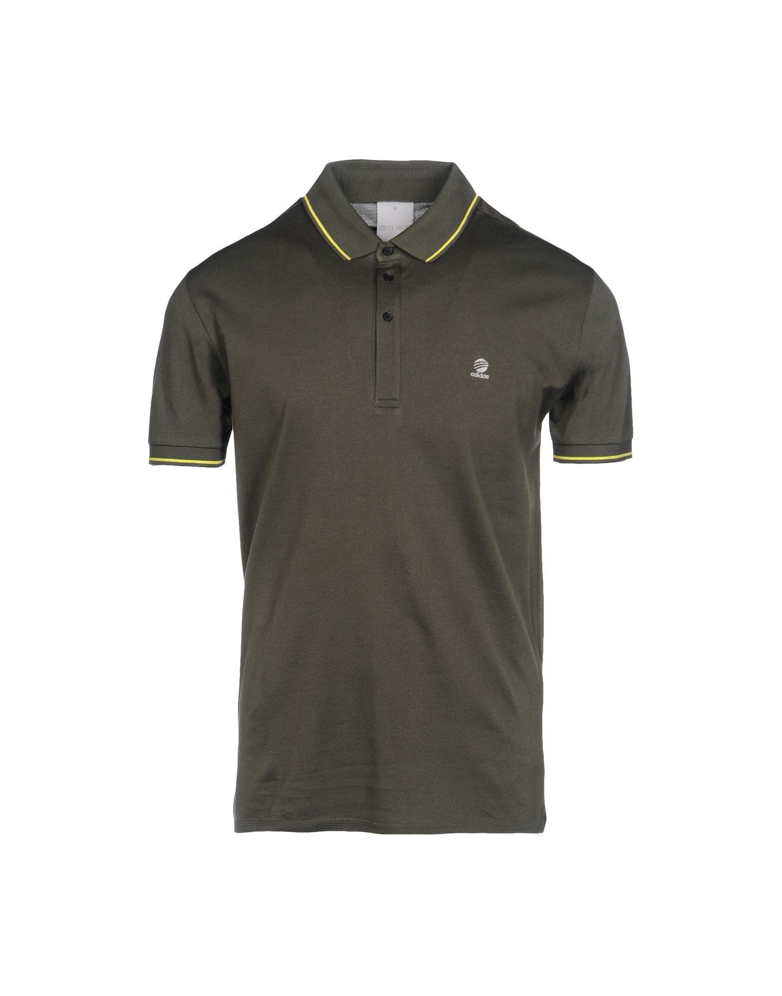 Adidas slvr polo shirt in khaki for men dark green lyst for Dark green mens polo shirt