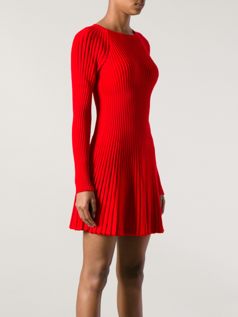 Lyst Alexander Mcqueen Ribbed Knit Dress In Red