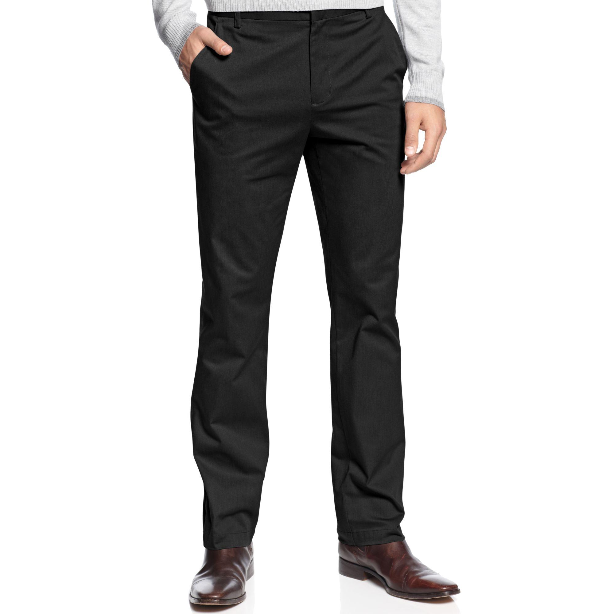 Calvin klein herringbone slim fit stretch pants in black for Calvin klein slim fit stretch shirt