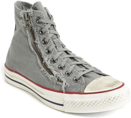 Converse Chuck Taylor All Star Distressed Double Zip High Top Sneakers in Gray for Men (Drizzle/ Egret)