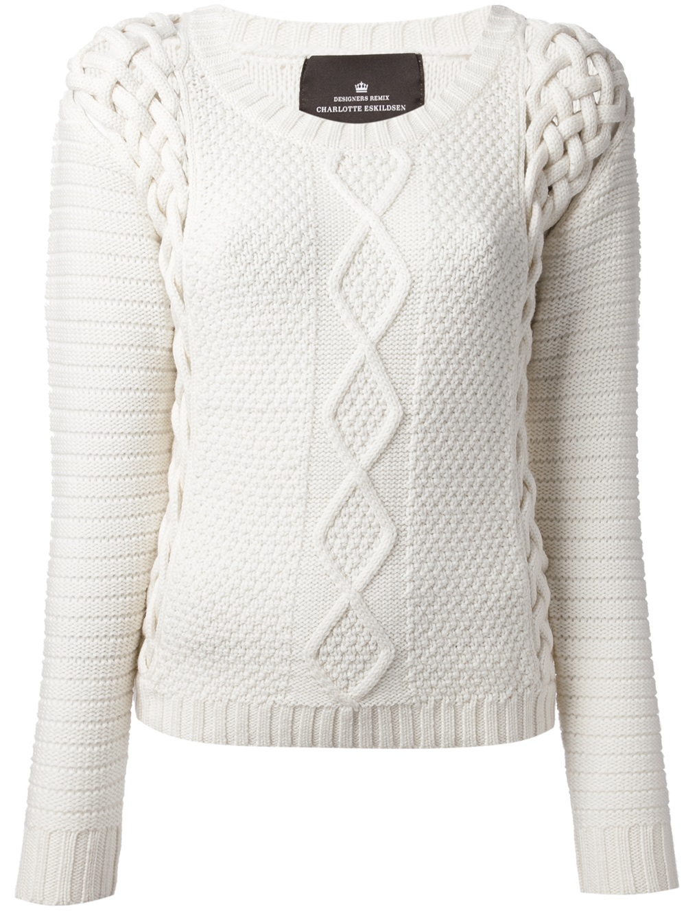 Lyst Designers Remix Cable Knit Sweater In White