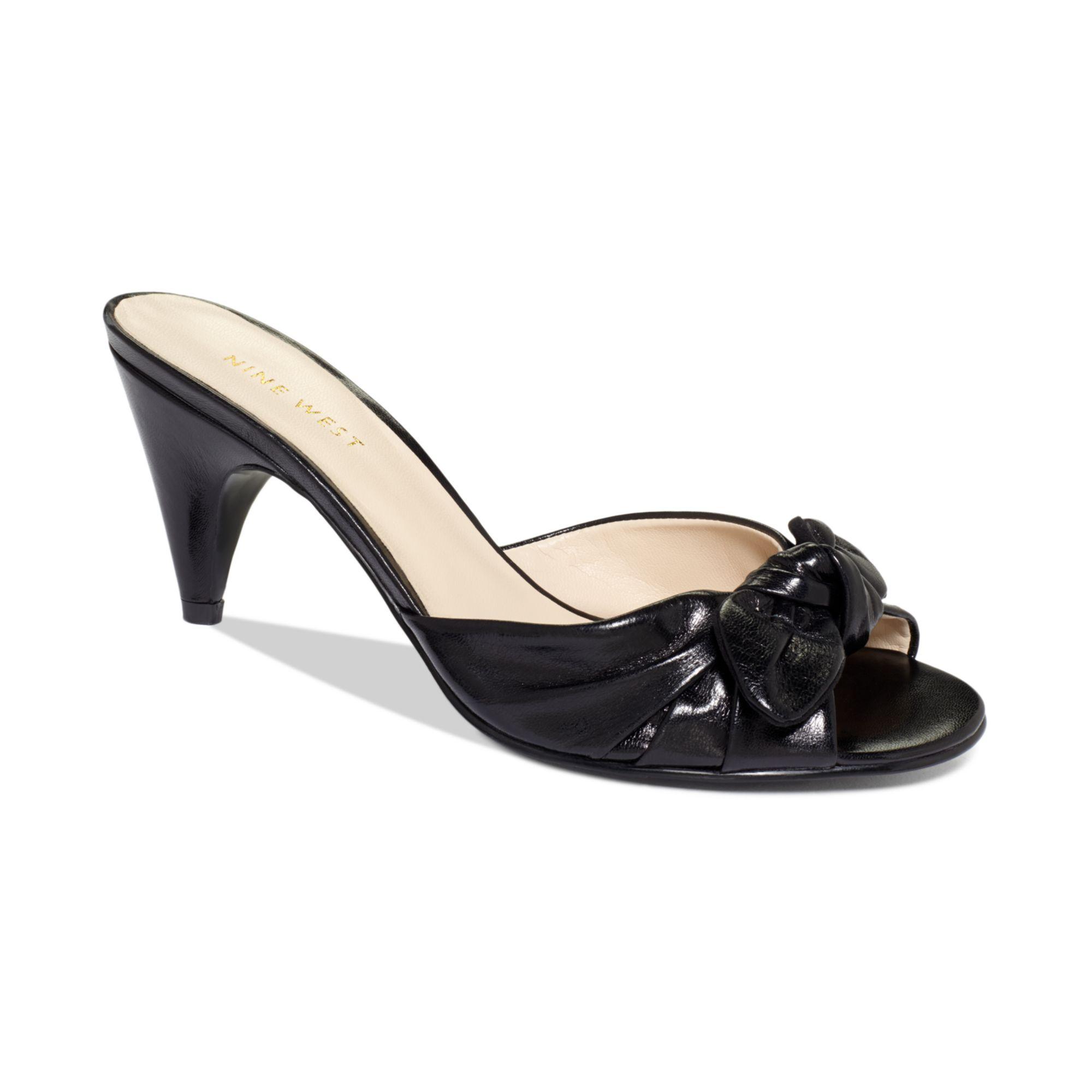 336750f5f9c Lyst - Nine West Anesa Mid Heel Mules in Black