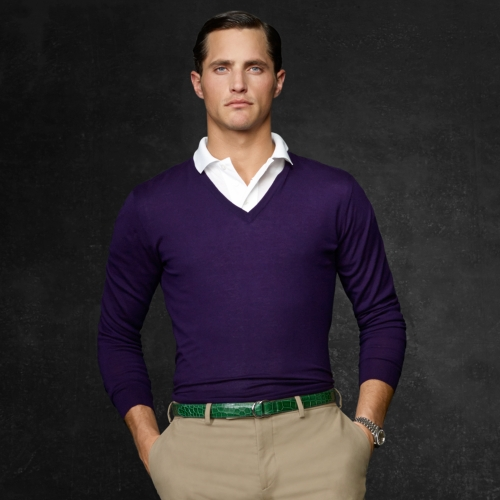 Ralph lauren purple label Cashmere Vneck Sweater in Purple for Men ...