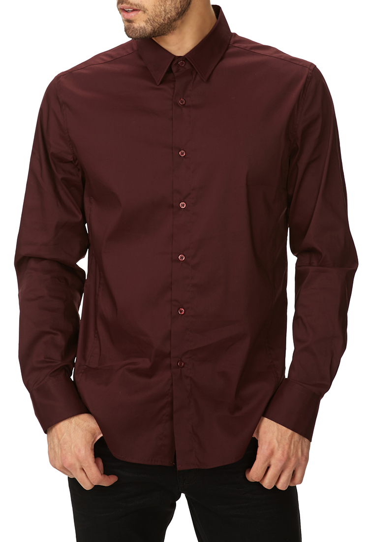 Lyst forever 21 fitted dress shirt in red for men for Mens jeans and dress shirt