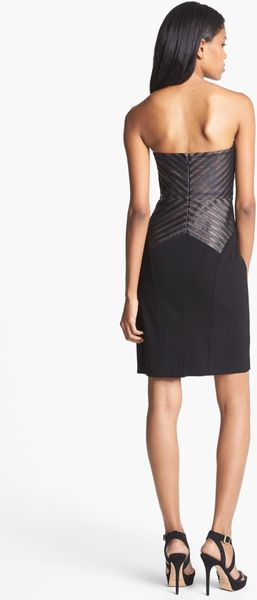 Aidan Mattox Faux Leather Detail Sheath Dress In Black Lyst