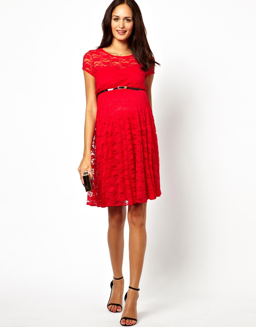 f760ed88502 ASOS Maternity Lace Skater Dress with Belt in Red - Lyst