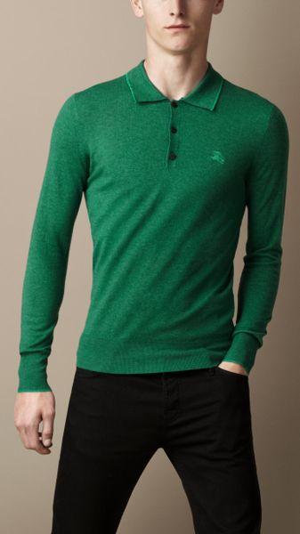 Burberry long sleeve merino wool polo shirt in green for for Merino wool shirt long sleeve