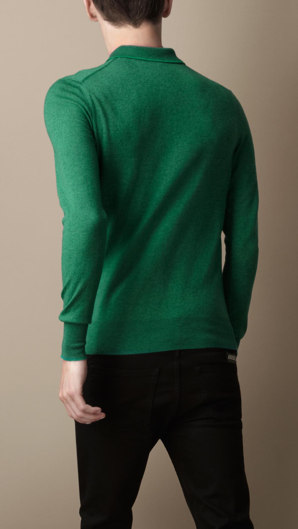 Lyst burberry long sleeve merino wool polo shirt in for Long sleeve wool polo shirts