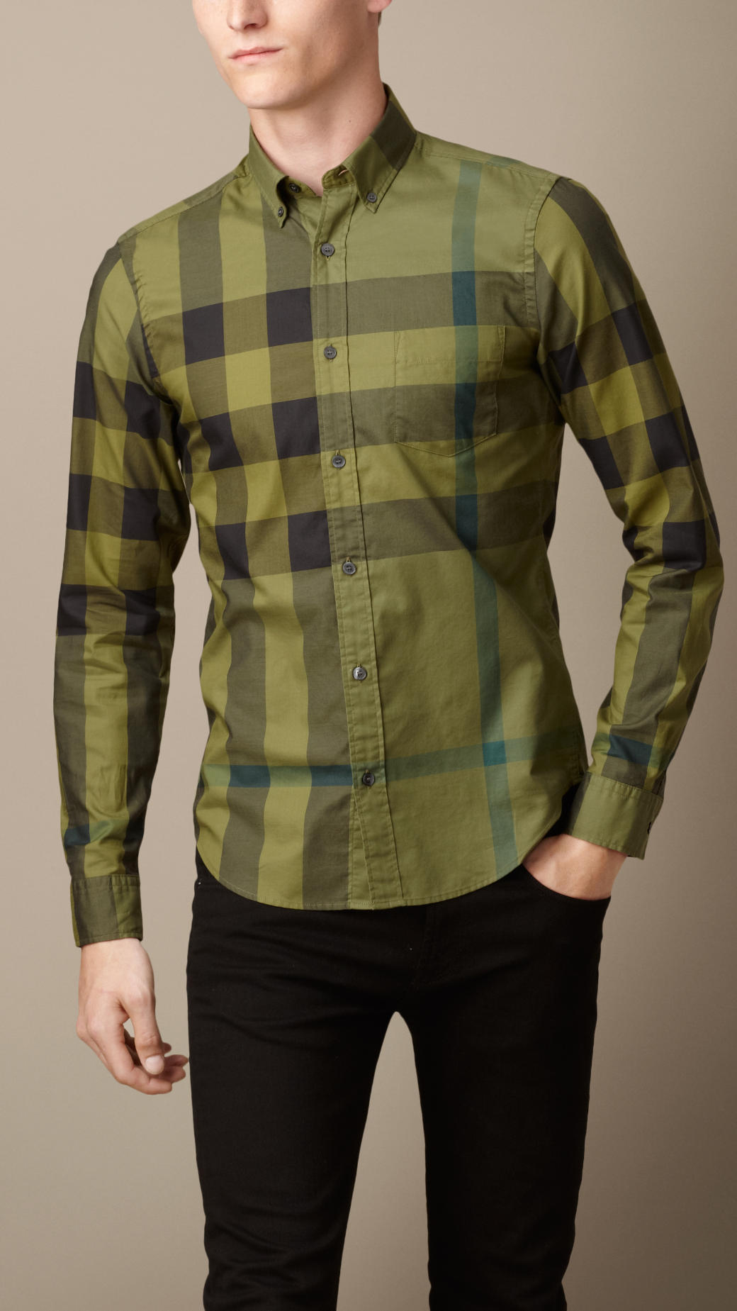 Lyst burberry exploded check cotton shirt in green for men for Burberry brit green plaid shirt