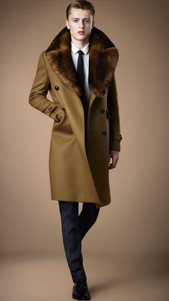Burberry Fur Collar Miltary Coat In Brown For Men