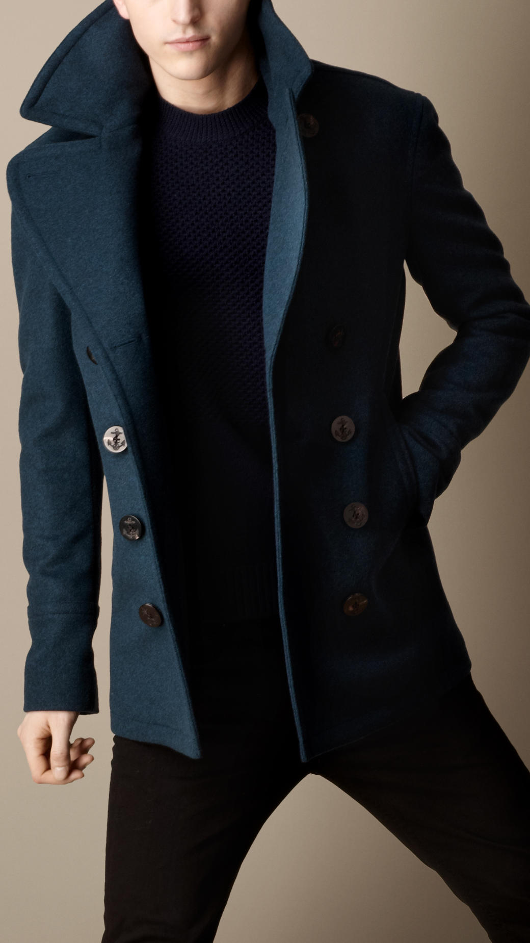 Burberry Wool Cashmere Pea Coat in Blue for Men | Lyst