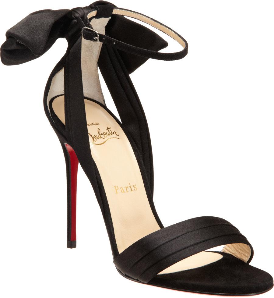 christian louboutin vampanodo 100mm black satin sandals