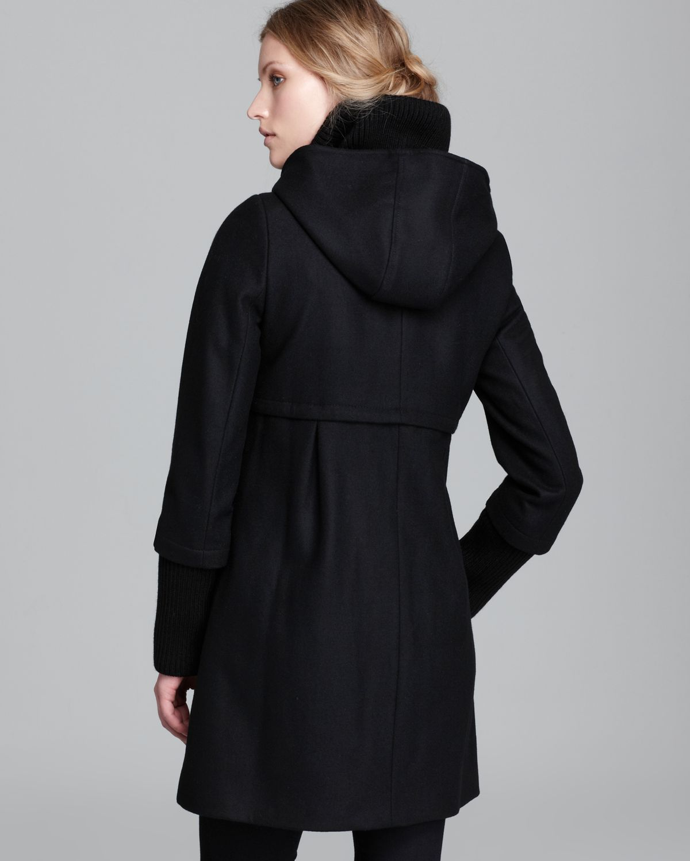 Lyst Dkny Hooded Knit Collar Empire Waist Coat In Black