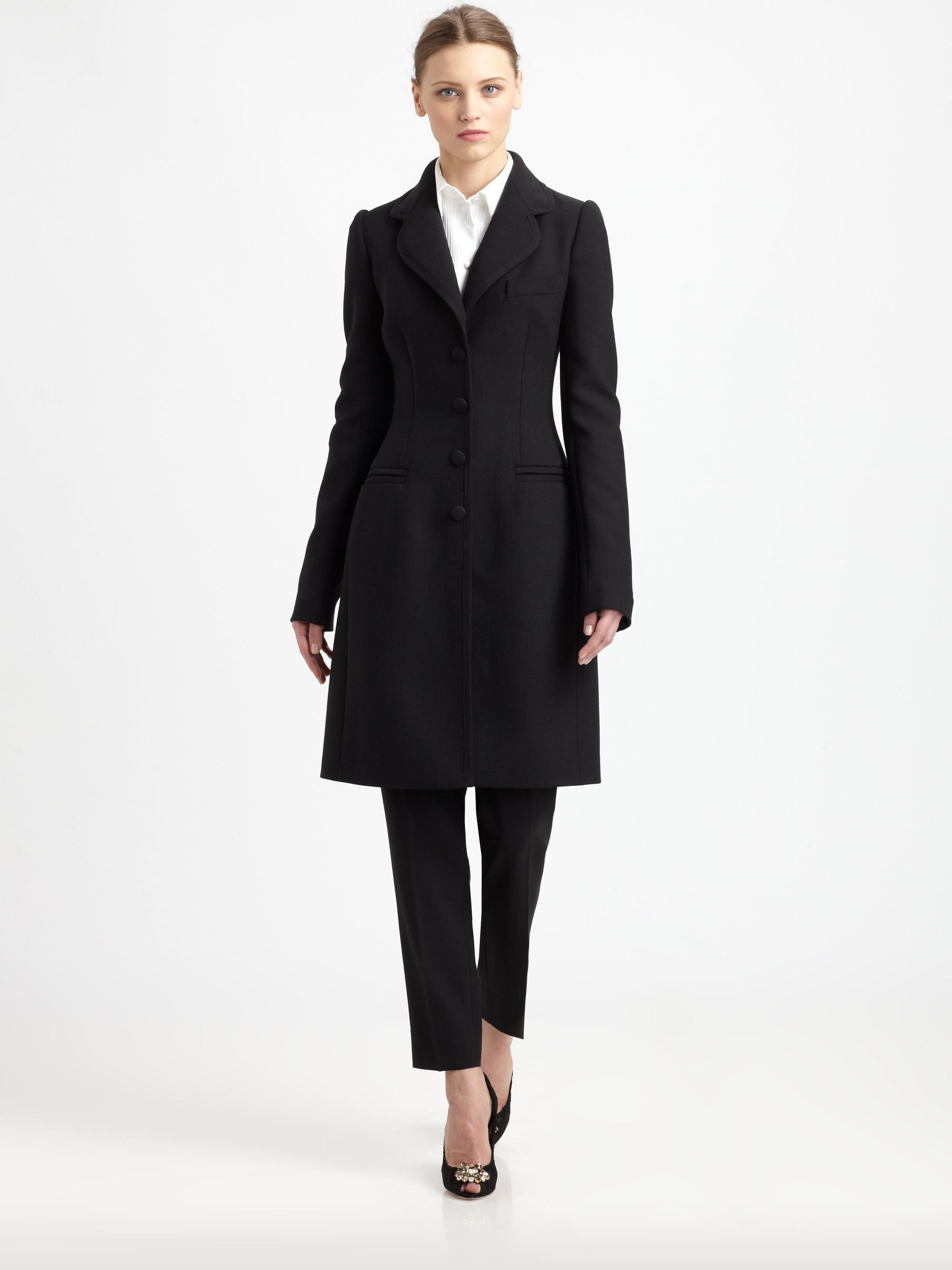 9c71e37e95a03 Lyst - Dolce   Gabbana Wool Crepe Coat in Black