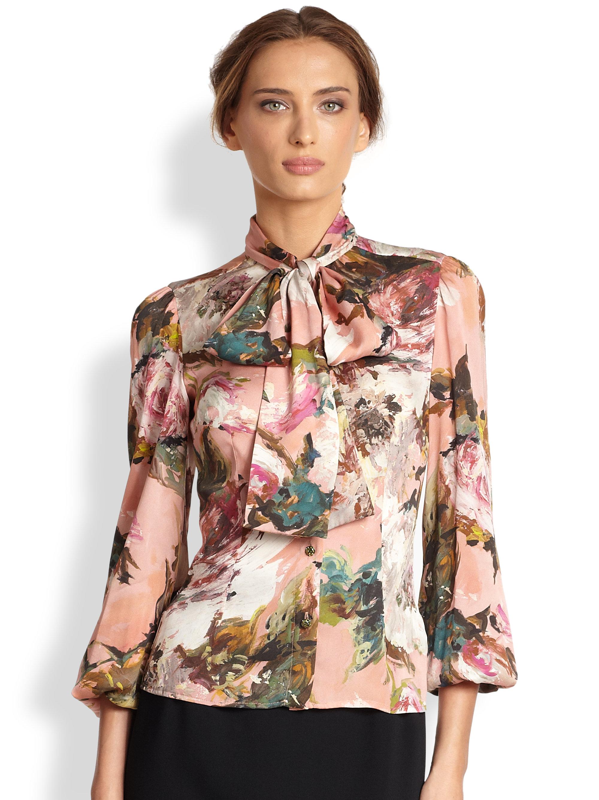 d3537e98920273 Lyst - Dolce   Gabbana Rose Brushprint Silk Blouse