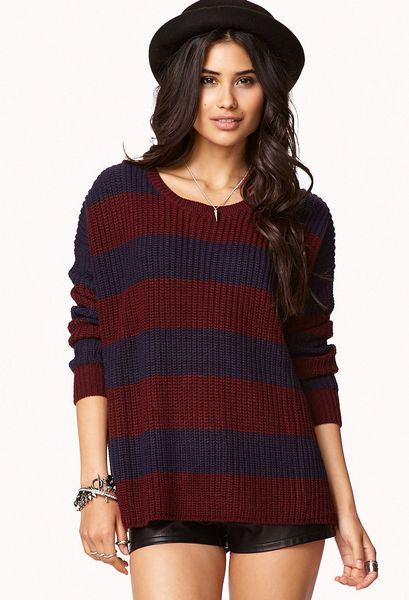 Opinion blue and burgundy striped mens sweaters