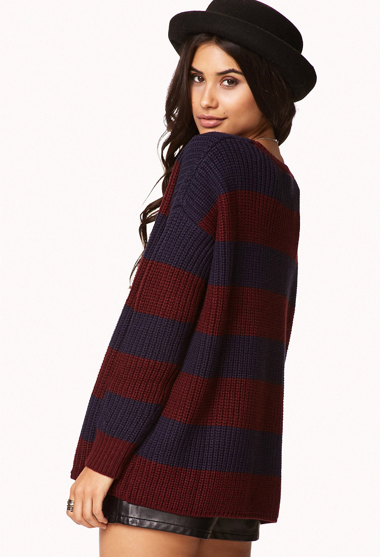 Forever 21 Color Blocked Stripe Sweater in Blue | Lyst
