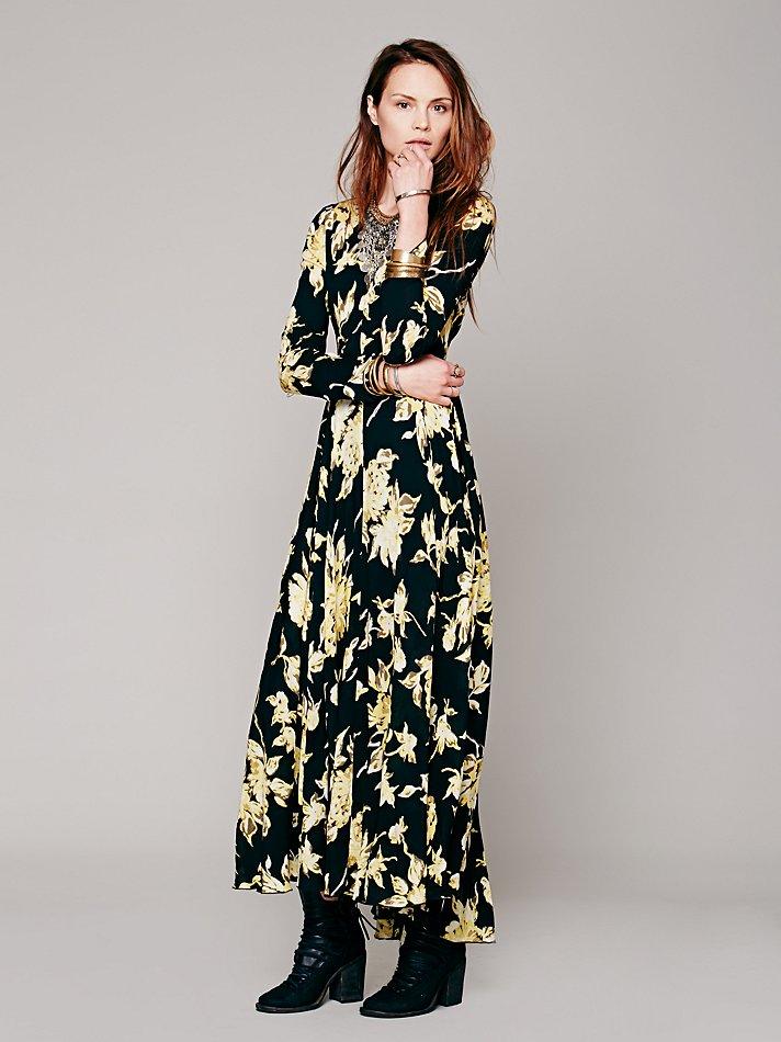 Free people first kiss black floral maxi dress