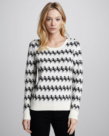 French Connection Horsepattern Knit Sweater in White (BLK ...