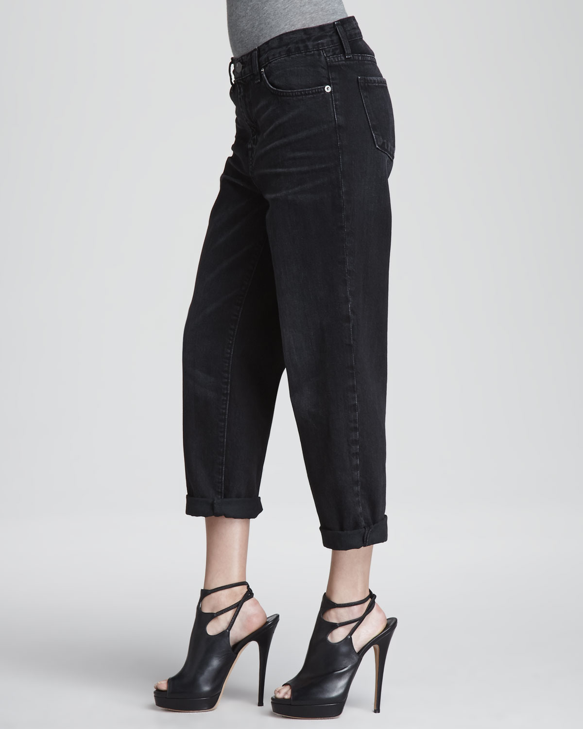 J brand Ace Cuffed Boyfriend Jeans in Black | Lyst