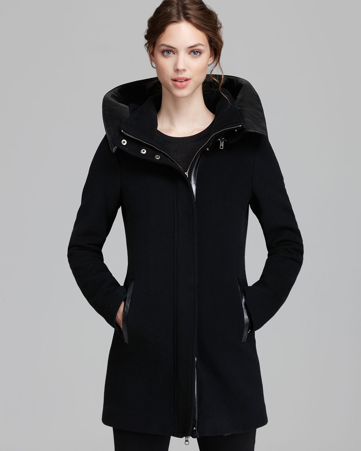 Mackage Coat Sunski Leather Trim Hood in Black | Lyst