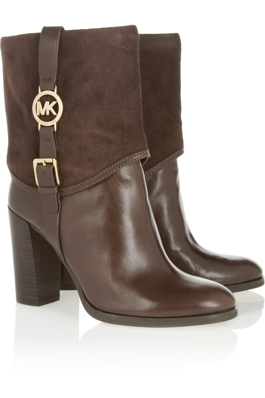 michael michael kors fulton suedetrimmed leather ankle