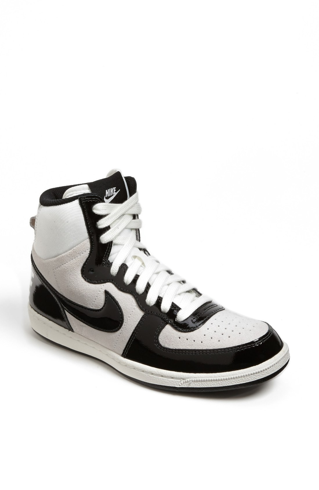 nike terminator lite high top sneaker in white white black lyst. Black Bedroom Furniture Sets. Home Design Ideas