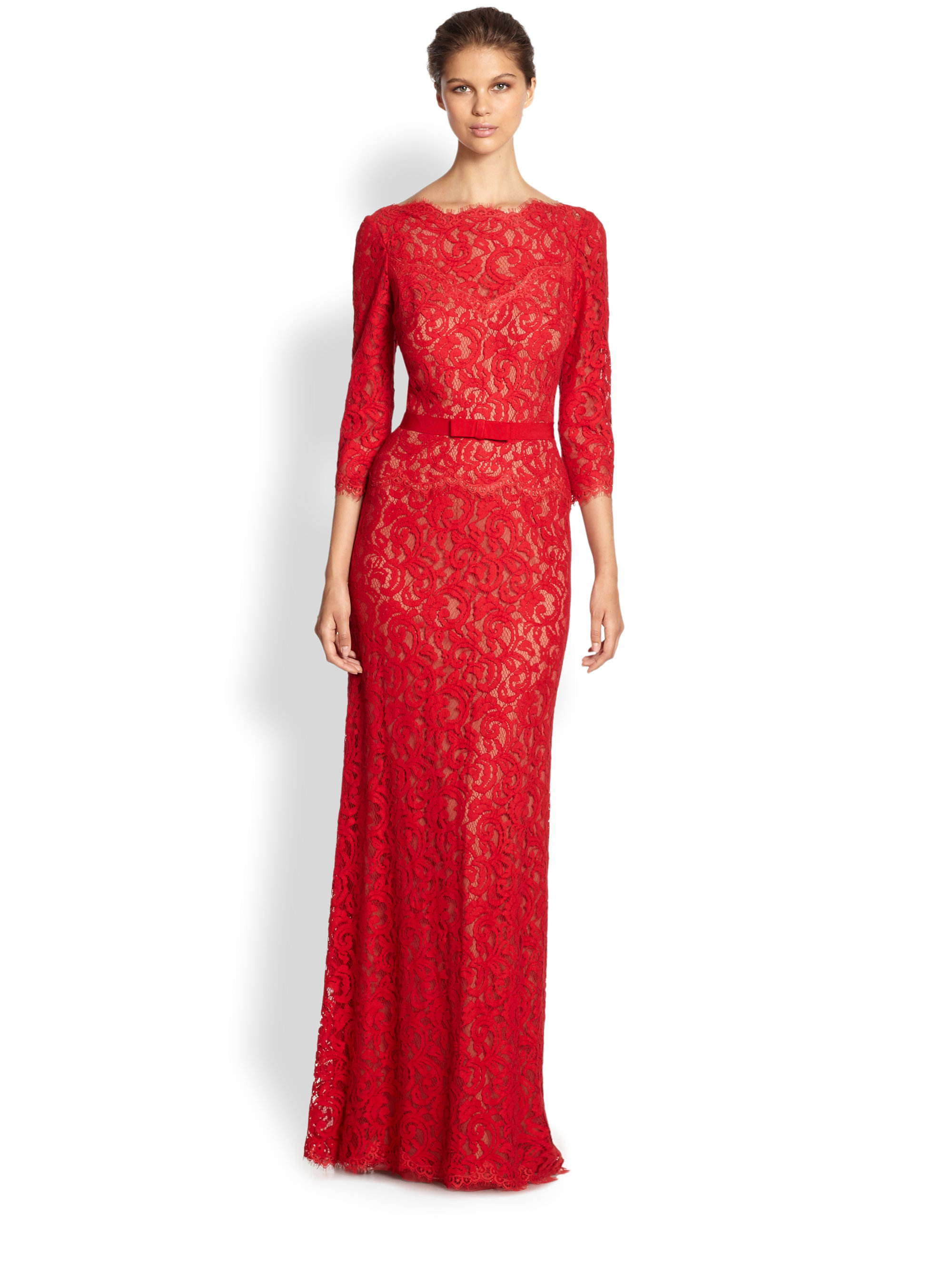 Tadashi shoji Illusion Lace Gown in Red | Lyst