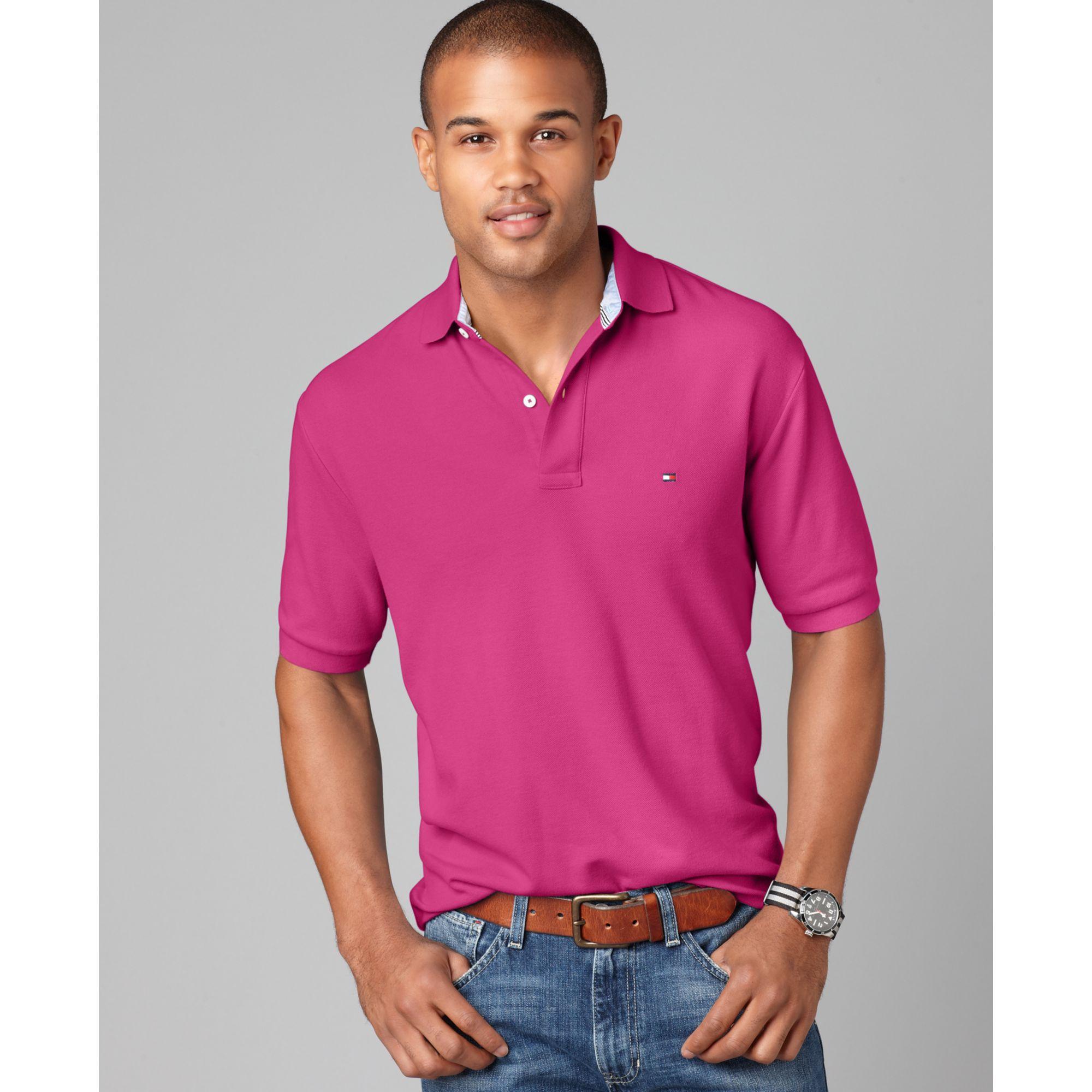 tommy hilfiger slim fit ivy polo shirt in pink for men. Black Bedroom Furniture Sets. Home Design Ideas