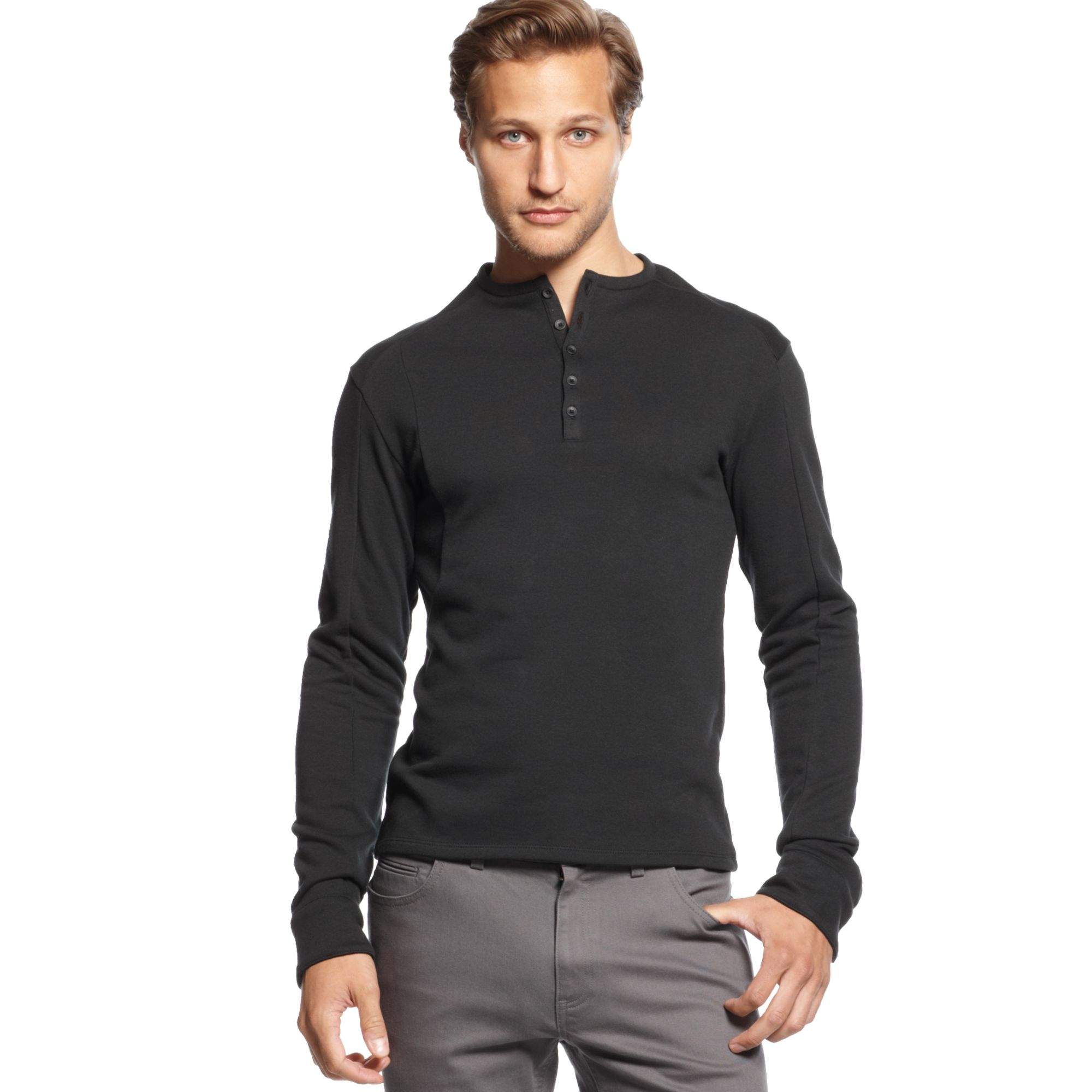 vince camuto long sleeve henley shirt in black for men lyst