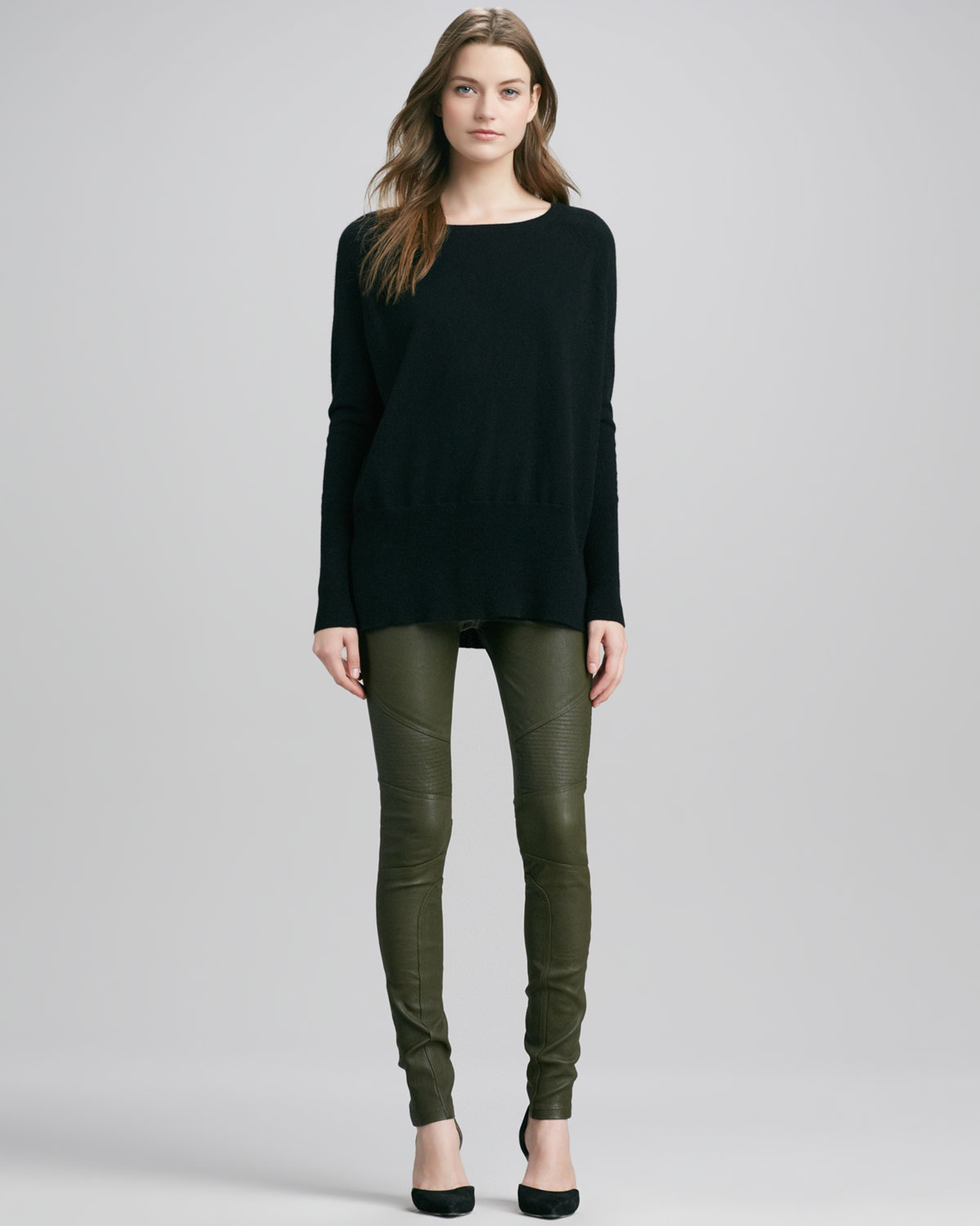Vince Moto Leather Pants Khaki Green in Green | Lyst