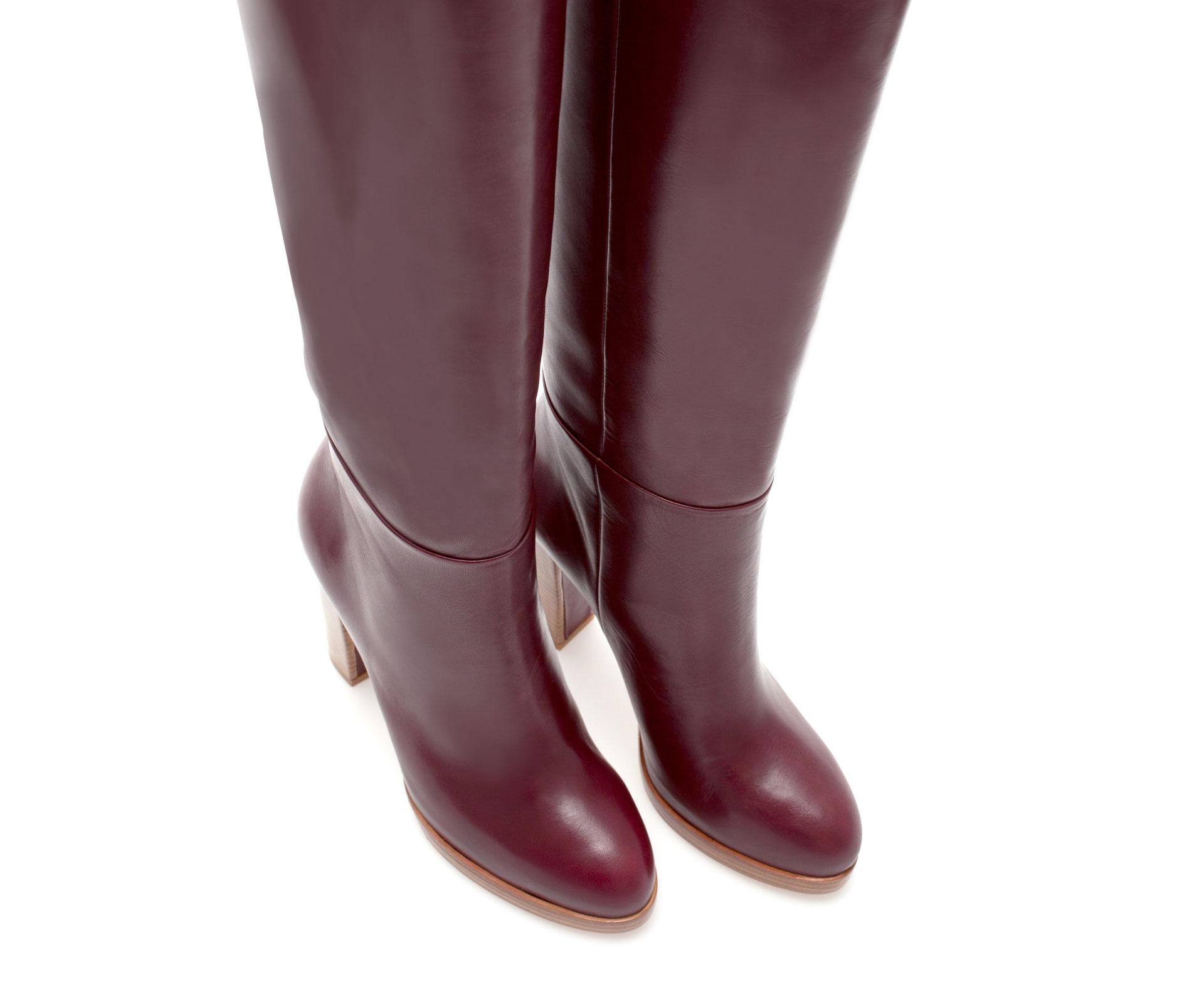zara leather platform boot with block heel in lyst