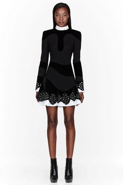 Alexander Mcqueen Black Velvet Laser Cut Lace Dress In