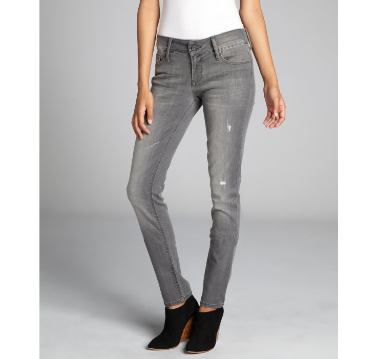 Black Orchid Stone Grey Distressed Retro Diva Stretch Denim Skinny