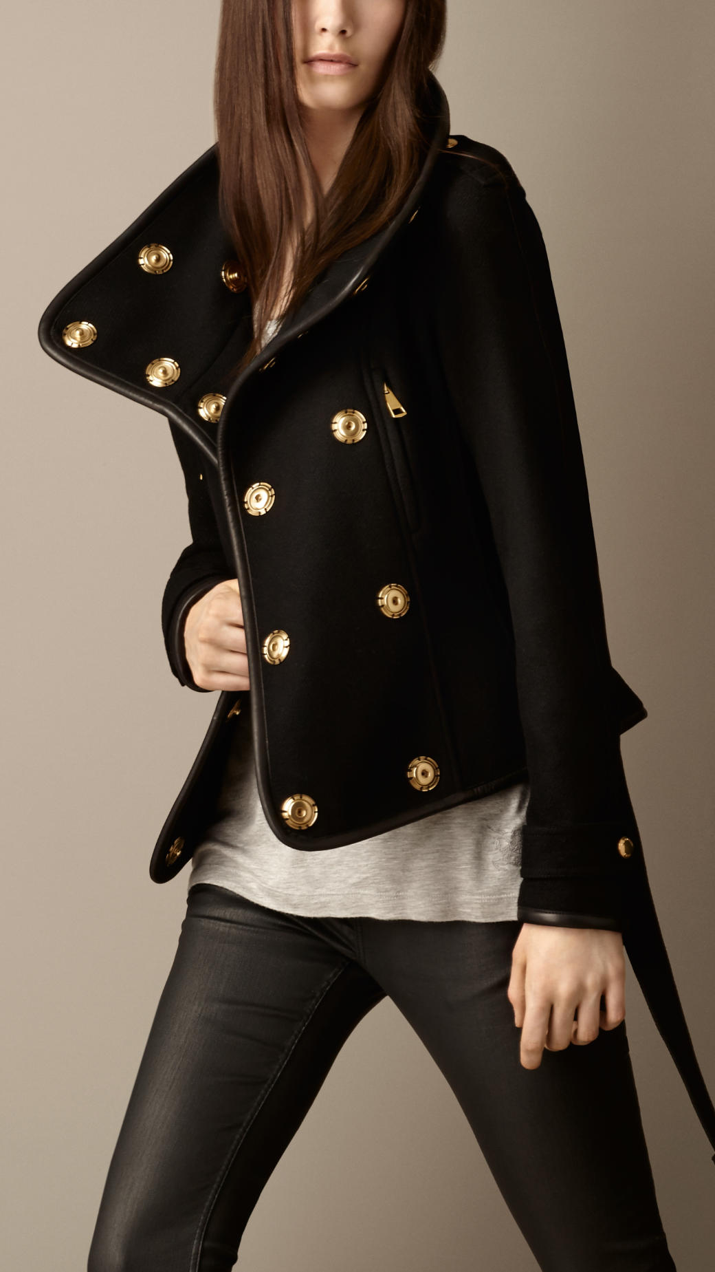 Lyst Burberry Leather Trim Blanket Wrap Jacket In Black