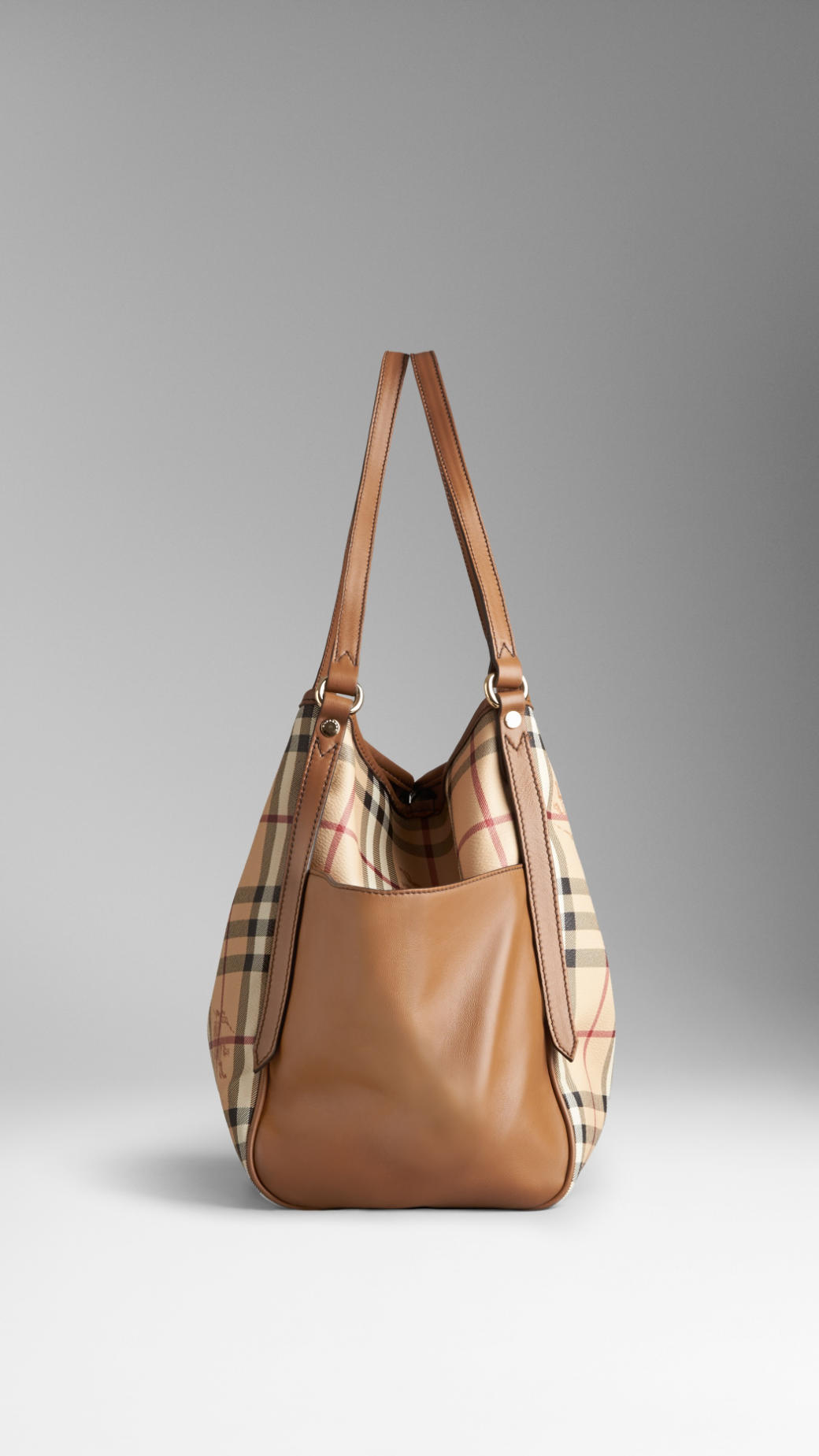 1e18932a218c Lyst - Burberry Small Haymarket Check Tassel Detail Tote Bag in Brown