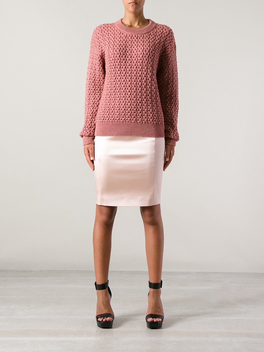 Cedric charlier Satin Pencil Skirt in Pink | Lyst