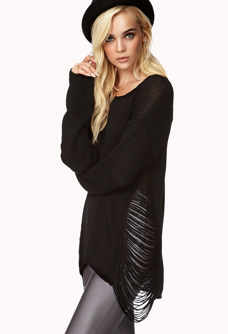 64% off UNIF Sweaters - UNIF black shredded sweater from Zanni's ...