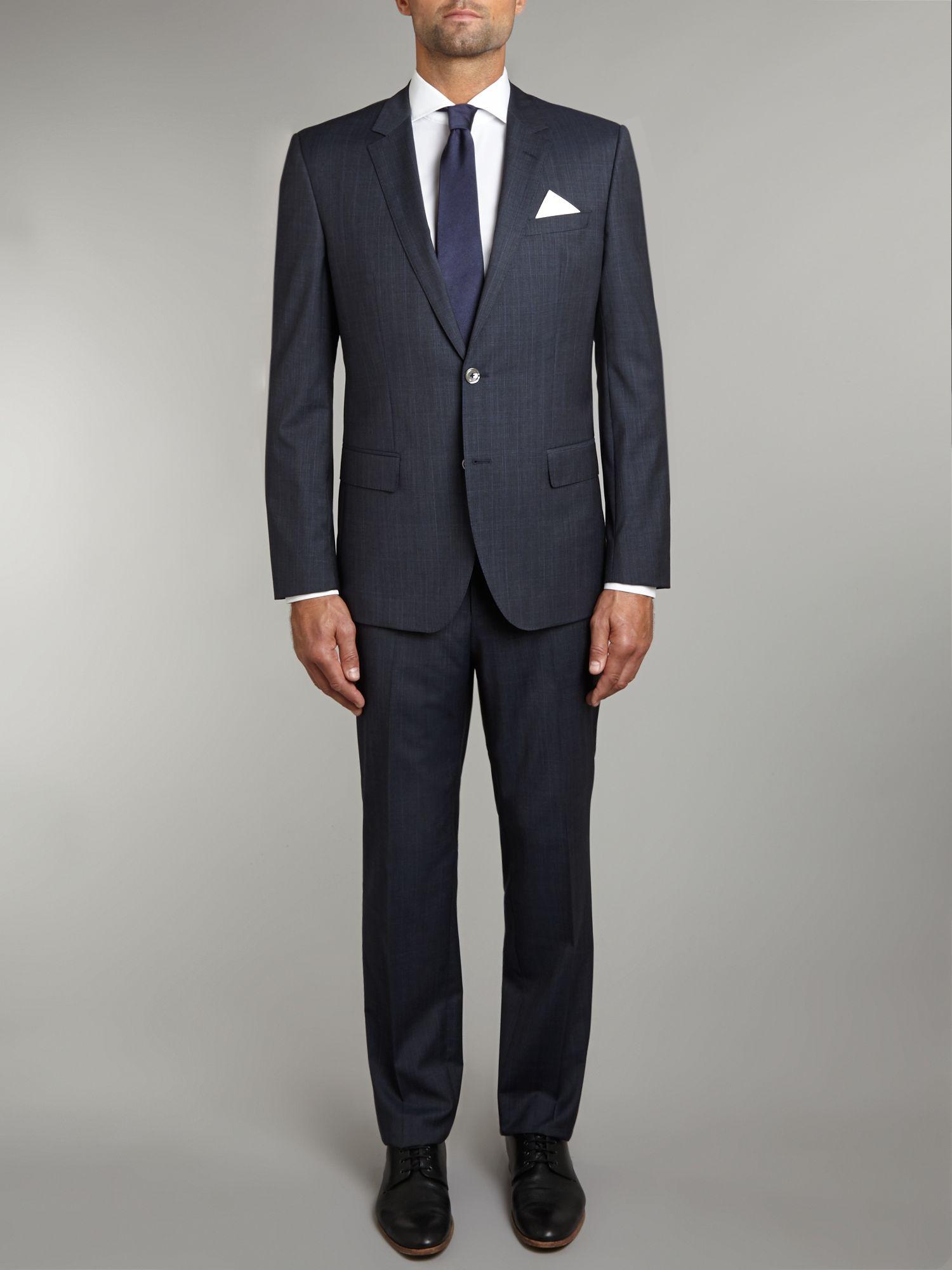 hugo boss hustongander slim fit subtle check suit in blue for men. Black Bedroom Furniture Sets. Home Design Ideas