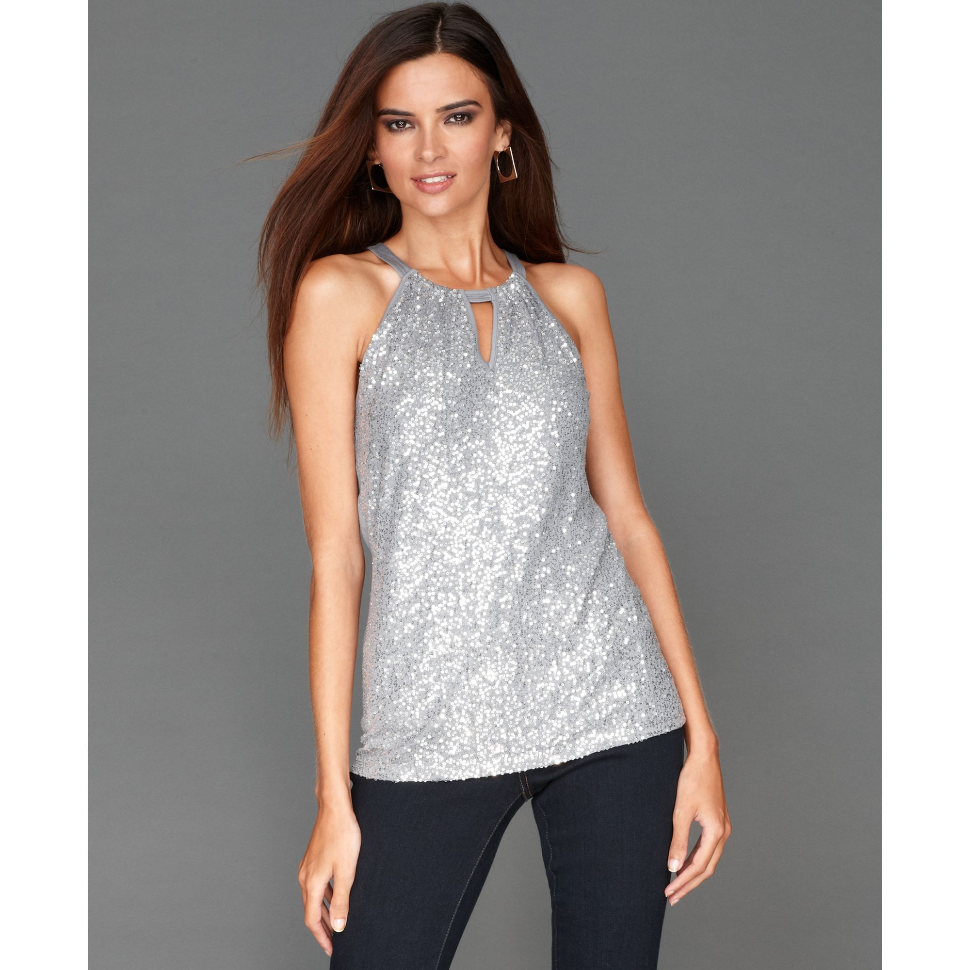 Inc International Concepts Cobblestone Grey Halter Keyhole Sequin Product on S Shell Cutaway