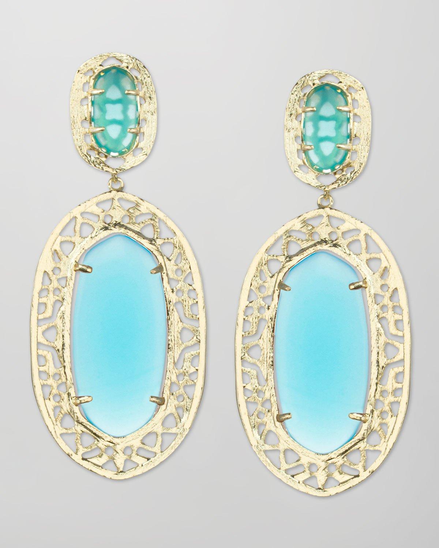Kendra Scott Darian Scrollborder Earrings Turquoise in ...
