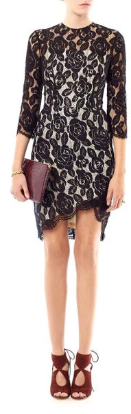 Lover Rosebud Lace Fitted Dress In Black Lyst