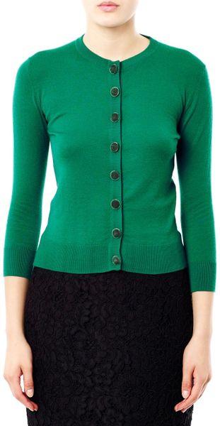 L Wren Scott Cashmere Cardigan In Green Emerald Lyst