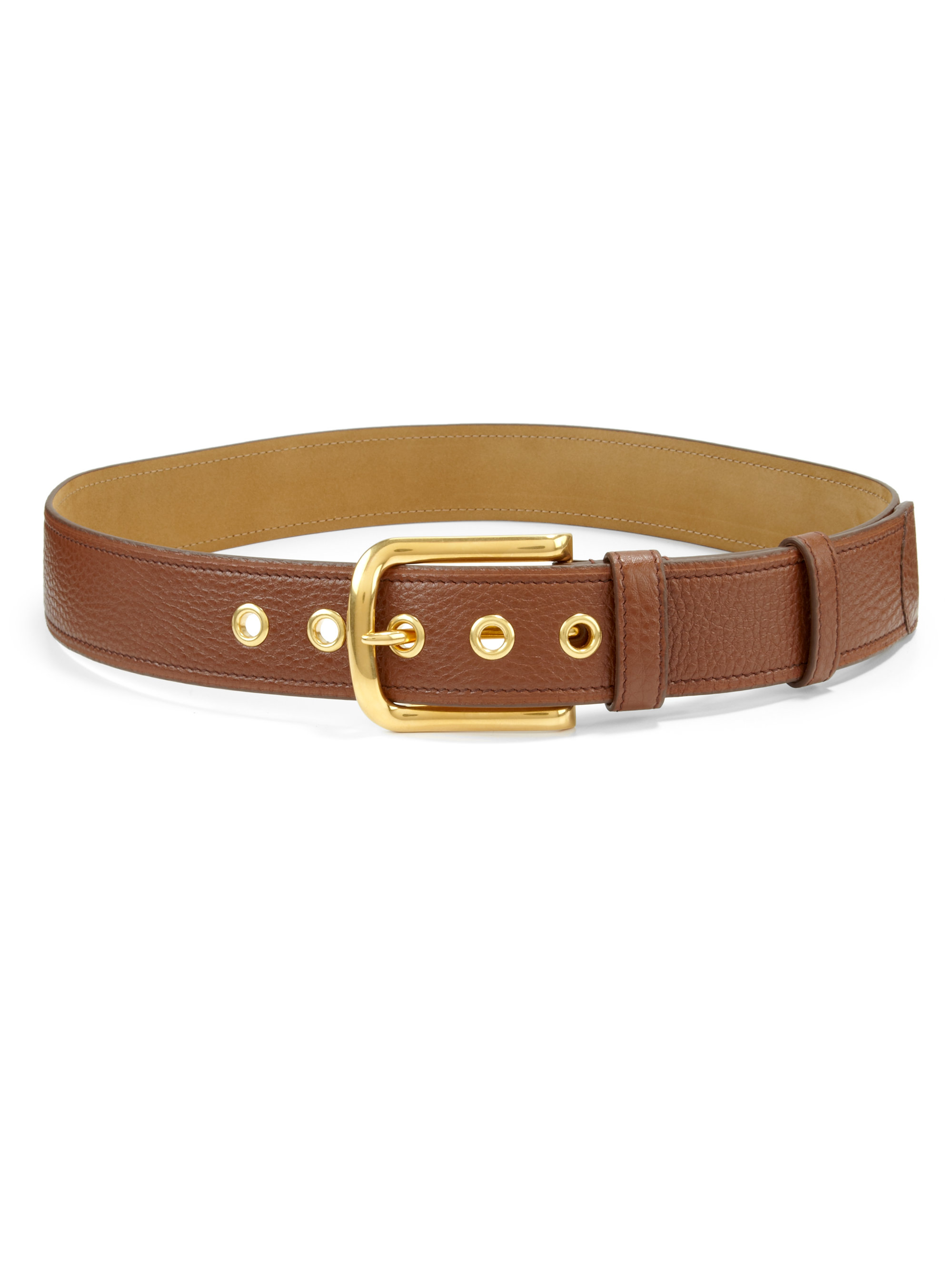 Prada Classic Daino Leather Belt in Brown | Lyst