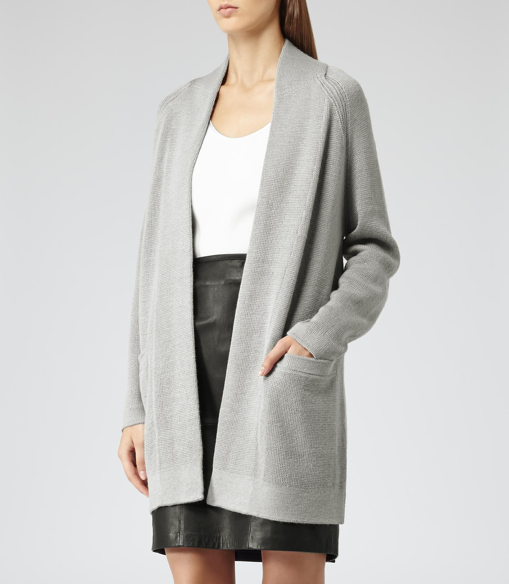 Reiss Kirsten Winter Knitted Cardigan in Gray | Lyst